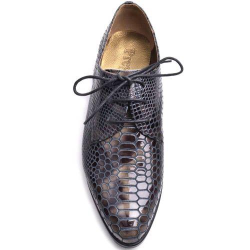 Туфли Prego женские на шнуровке лаковые с отделкой под кожу змеи, фото