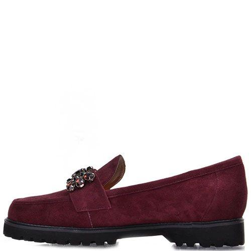 Туфли Prego из натуральной замши бордового цвета декорированные большими камнями, фото