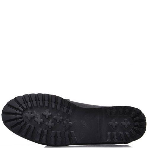 Туфли-лоферы Prego из натуральной кожи черного цвета с камнями на носочке, фото