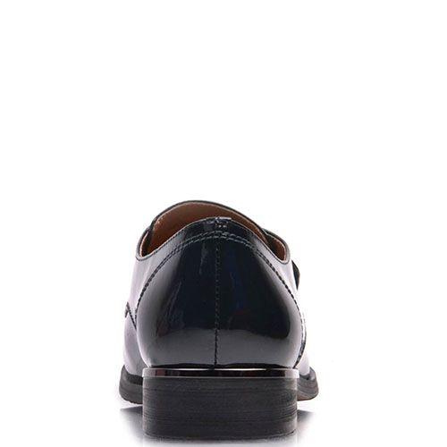 Туфли Prego из натуральной лаковой кожи зеленого цвета с молнией, фото