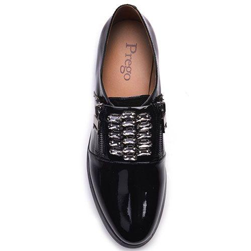 Туфли Prego из натуральной лаковой кожи черного цвета с молниями по бокам, фото