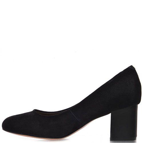 Туфли Prego из натуральной черной замши на среднем каблуке, фото