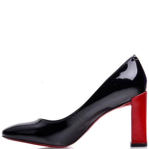Туфли Prego черного цвета лаковые с красным каблуком, фото