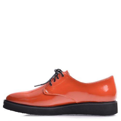 Туфли-слипоны Prego из натуральной лаковой кожи ярко-оранжевые, фото