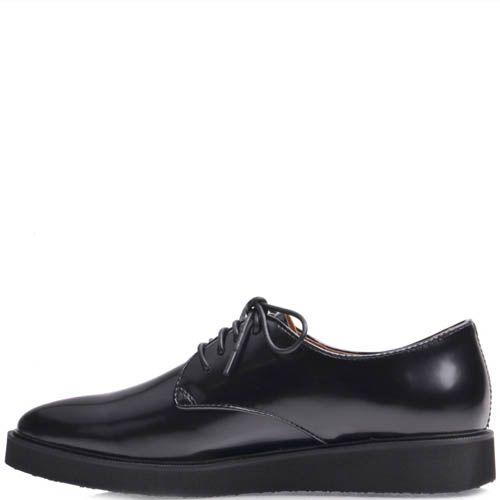 Туфли Prego женские на широкой подошве из гладкой кожи черного цвета, фото