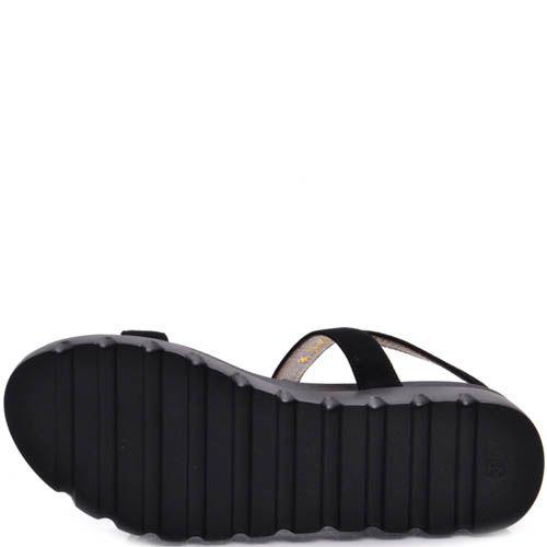 Сандалии Prego черного цвета на толстой подошве с декором из белых камней, фото