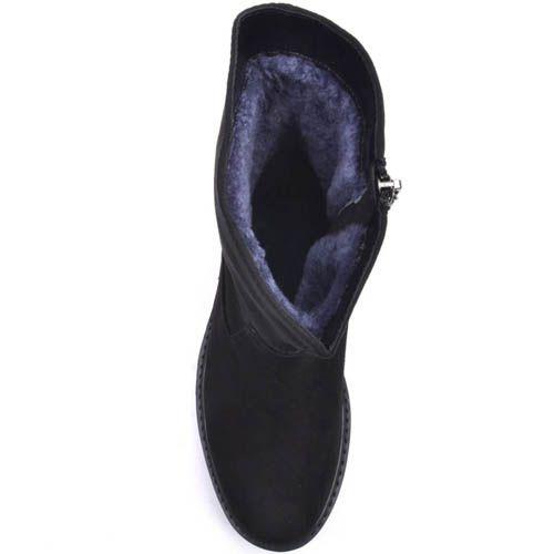Ботинки Prego зимние на меху черного цвета с зубчастой подошвой, фото