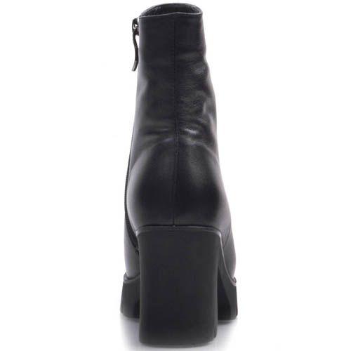 Ботильоны Prego черного цвета с толстым устойчивым каблуком высотой 8 см, фото