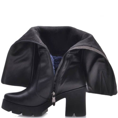 Сапоги Prego зимние кожаные черного цвета с толстым каблуком 8 см и рельефной подошвой, фото