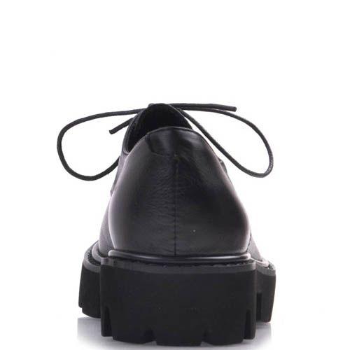 Ботинки Prego черного цвета кожаные с толстой рельефной подошвой и тонкими шнурками, фото