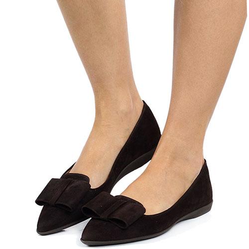 Замшевые лоферы Unisa коричневого цвета с плоским бантом, фото