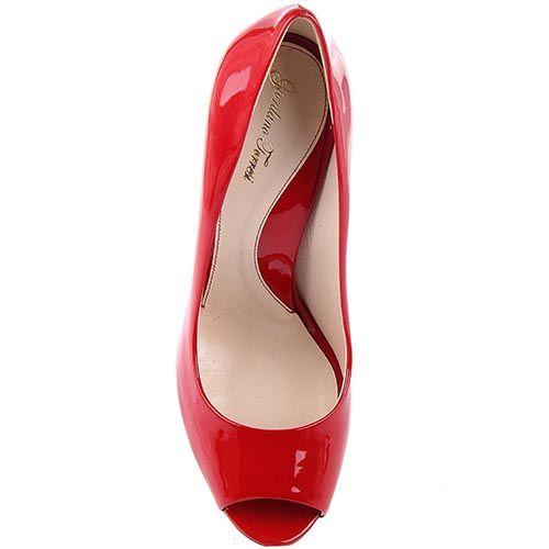 Туфли Giordano Torresi Ari ярко-красного цвета на тонкой шпильке с открытым носочком, фото