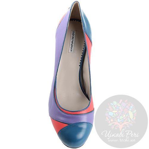 Разноцветные туфли Emporio Armani на среднем каблуке с округлым носочком, фото