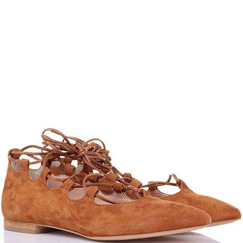 Замшевые туфли Ovye насыщенно-коричневого цвета на шнуровке с острым носиком, фото
