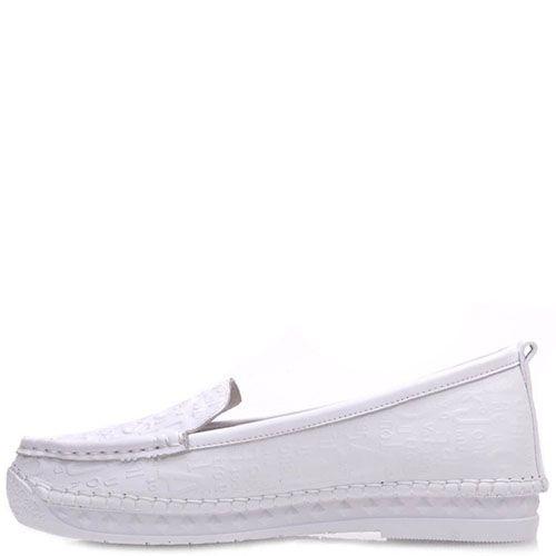 Туфли-мокасины Prego из кожи белого цвета на низком ходу, фото