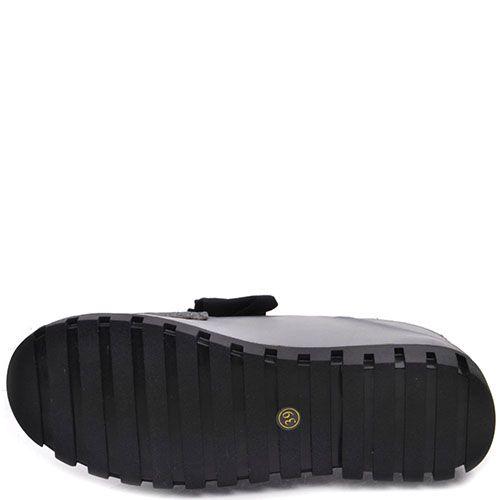 Туфли Prego из кожи серого цвета с черным бантом на язычке, фото