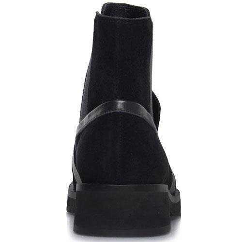 Замшевые ботинки на резинке Prego черного цвета с кожаными деталями, фото