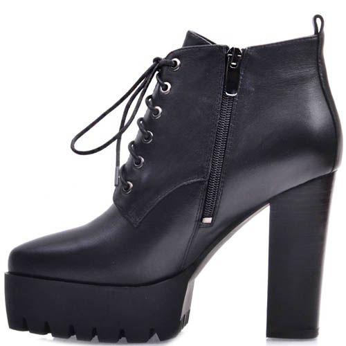 Ботинки Prego черного цвета на высоком каблуке со шнуровкой, фото