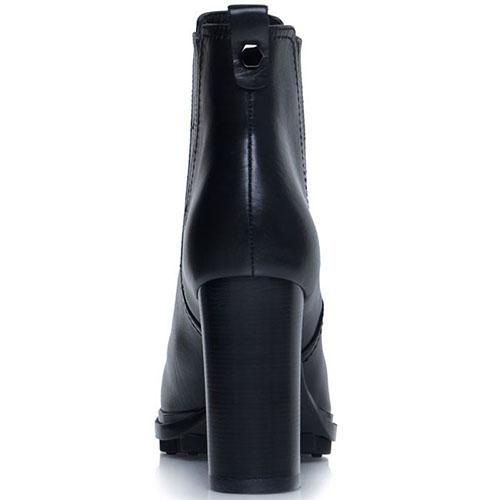 Кожаные черные ботильоны Prego на толстом выстоком каблуке, фото