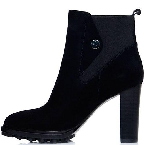 Замшевые ботильоны Prego черного цвета на высоком устойчивом каблуке, фото