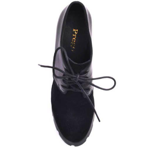 Ботильоны Prego черного цвета из кожи и замши со шнуровкой на высоком каблуке и рельефной подошве, фото