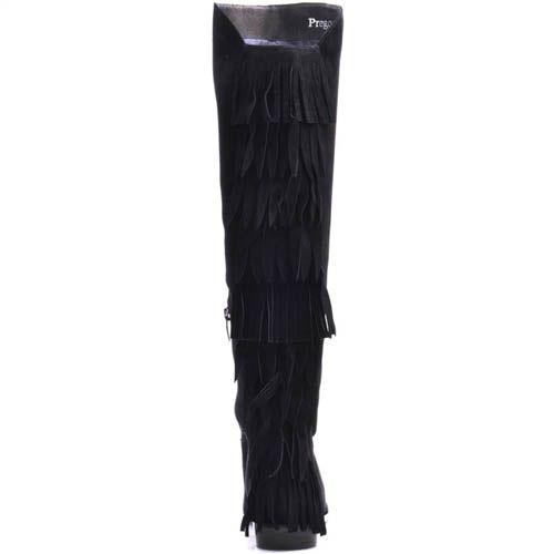 Сапоги Prego осенние черного цвета замшевые с бахромой, фото