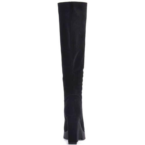 Сапоги Prego осенние замшевые черного цвета с толстым замшевым каблуком, фото