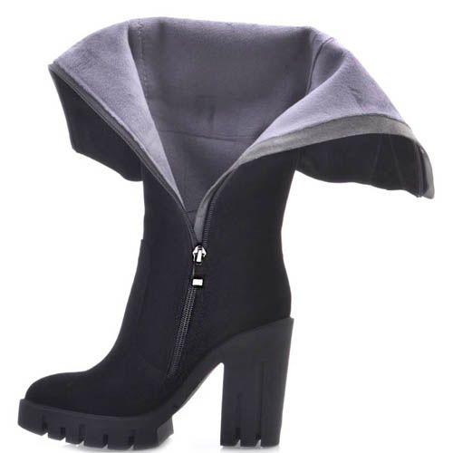 Сапоги Prego осение черного цвета замшевые с толстым высоким каблуком и рельефной подошвой, фото