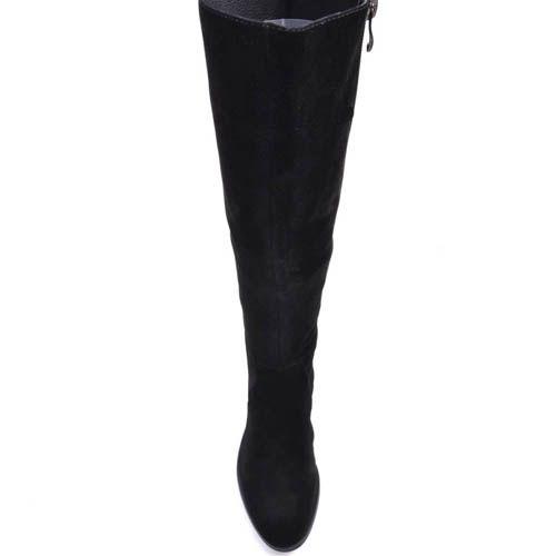 Сапоги Prego зимние из натуральной замши на устойчивом каблуке и с молнией, фото