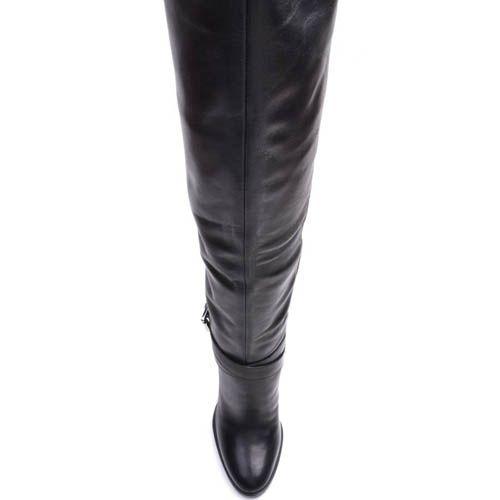 Высокие сапоги Prego зимние кожаные с мехом до щиколотки и ремешком вокруг щиколотки, фото