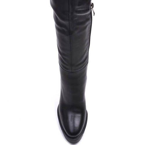 Ботфорты Prego зимние кожаные с узким носком на каблуке и с рельефной подошвой, фото