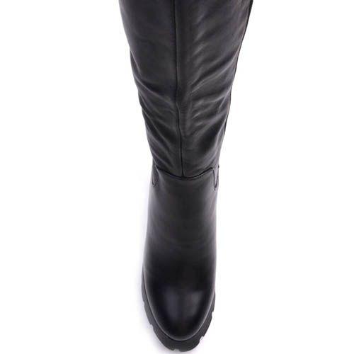 Ботфорты Prego зимние кожаные на толстом каблуке высотой 10 см и танкетке, фото
