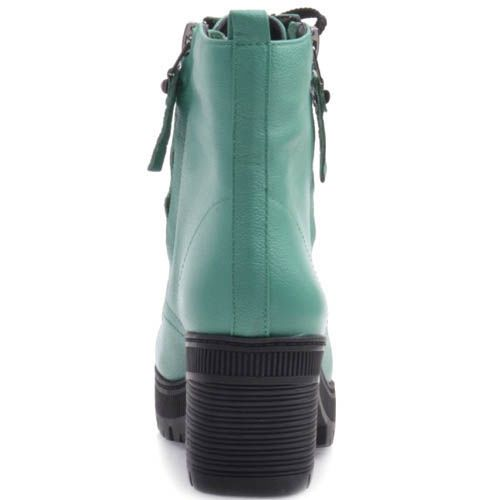 Ботинки Prego бирюзовые на шнуровке и с молниями, фото