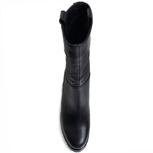 Высокие кожаные ботинки Prego черного цвета на толстом каблуке, фото