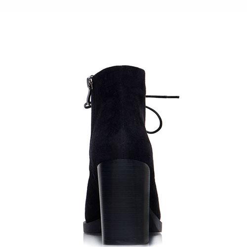 Ботильоны из замши Prego черного цвета на толстом каблуке, фото
