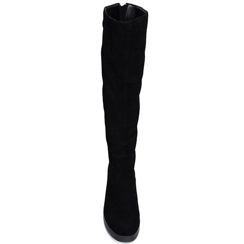 Женские замшевые сапоги Prego черного цвета с декоративной молнией, фото