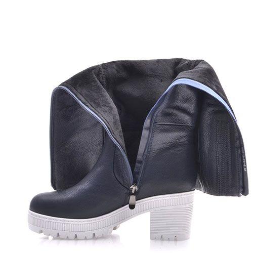 Демисезонные сапоги Prego из натуральной кожи синего цвета на среднем устойчивом каблуке, фото