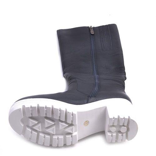 Демисезонные сапоги Prego из кожи синего цвета на среднем устойчивом каблуке, фото