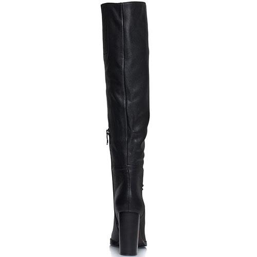 Высокие сапоги Prego из натуральной кожи черного цвета на высоком каблуке, фото