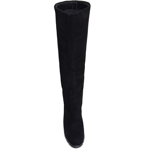 Высокие сапоги Prego из натуральной кожи черного цвета, фото