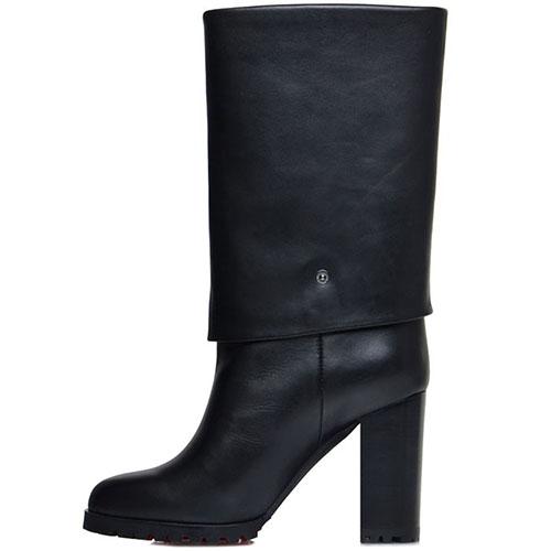Женские сапоги Prego из кожи черного цвета на высоком каблуке, фото