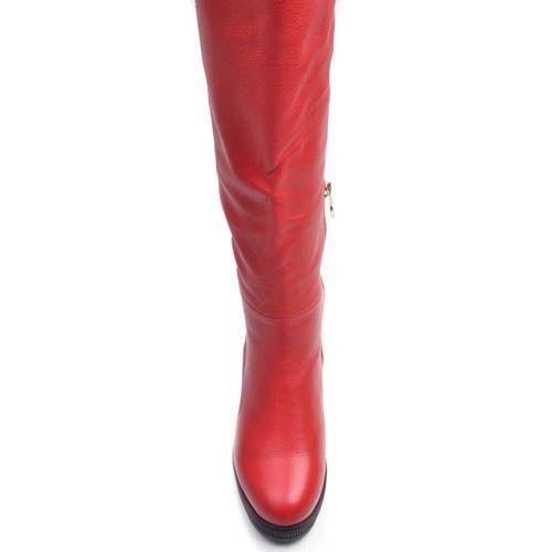 Сапоги Prego зимние кожаные красного цвета на устойчивом каблуке с подошвой черного цвета, фото