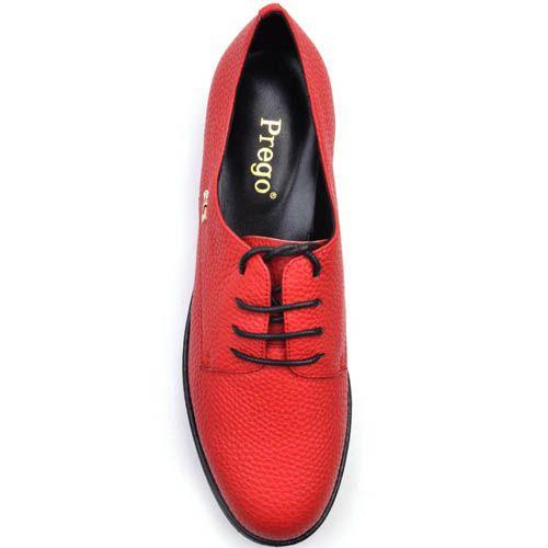 Туфли Prego красного цвета из зернистой кожи на шнуровке, фото