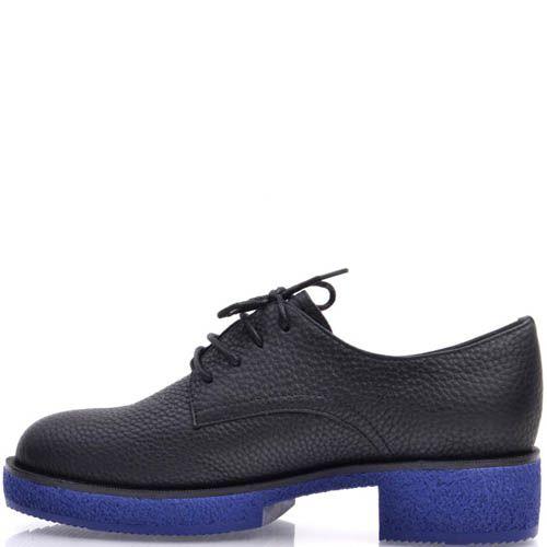 Ботинки Prego черного цвета из зернистой кожи с синей подошвой, фото
