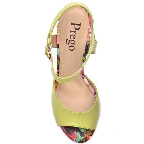 Босоножки Prego из кожи салатового цвета с цветочным принтом на каблуке, фото