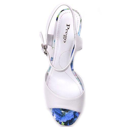 Кожаные босоножки Prego белого цвета с устойчивым каблуком в цветочном принте, фото