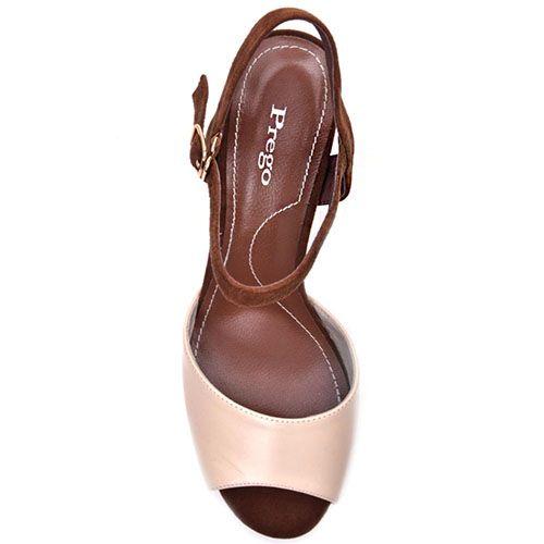 Босоножки Prego из натуральной кожи бежево-коричневые с принтом на каблуке, фото