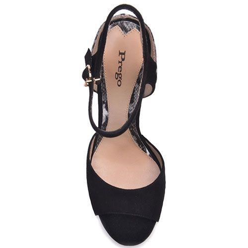Кожаные босоножки Prego черного цвета с имитацией кожи рептилии на каблуке, фото