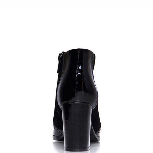 Замшевые ботильоны Prego черного цвета с лаковыми вставками, фото