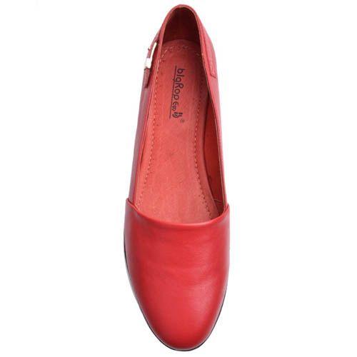 Балетки Prego кожаные красные с декоративной пряжкой, фото